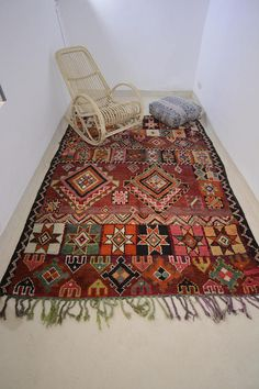 Vintage Authentic Moroccan Boujaad Rug Handmade Carpet