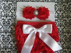 Baby girls Christmas bloomer set, Red lace bloomer, red petti lace bloomer,diaper cover baby size 0-6 month, headband, Photo prop on Etsy, $16.00