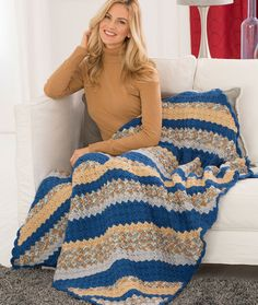 Corner-to-Corner Restful Throw Free Crochet Pattern in Red Heart Yarns