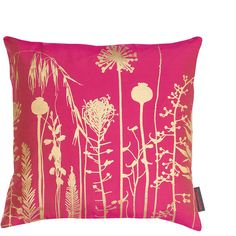 Clarissa Hulse Seed Heads Cushion - 45x45cm - Hot Pink/Antique Gold ($85) ❤ liked on Polyvore featuring home, home decor, throw pillows, pink, flower throw pillows, pink home decor, handmade home decor, clarissa hulse and hot pink accent pillows