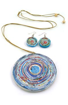 Ecoist | Necklace & Earring Set  made from hand rolled, hand coiled recycled newspaper coated with a tinted natural varnish.