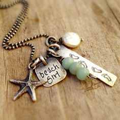 personalized jewelry, hand stamped necklace, summer, surfer, beach girl necklace, mothers necklace, creme de la gems