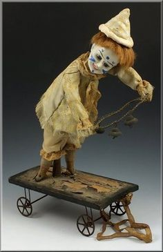 19thC German Automaton Pull Toy Bisque Head Clown on Cart w Paperweight Eyes | eBay