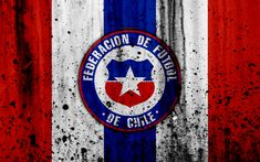 Download wallpapers Chile national football team, 4k, emblem, grunge, Europe, football, stone texture, soccer, Chile, logo, South American national teams