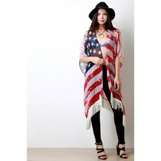 Wear It Proudly Fringe Trimmed Poncho ($24) via Polyvore featuring outerwear, fringe poncho, woven poncho, lightweight poncho and white poncho