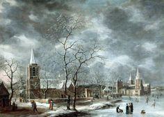 Jan Abrahamsz Beerstraten (1622-1666) - Warmond Castle in a Winter Landscape. 1661. Oil on canvas.