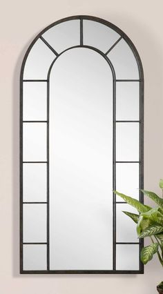 """BLACK RUST ARCHED ARCH DILLINGHAM LEANER FULL LENGTH WALL MIRROR LARGE XL 79""""H #Uttermost #Transitional"""
