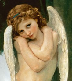 Cupidon (detail) - oil painting of William Adolphe Bouguereau as art print or hand painted oil. William Adolphe Bouguereau, Jan Van Eyck, Vintage Illustration, Munier, Figurative Kunst, Peter Paul Rubens, Angels Among Us, Pre Raphaelite, Guardian Angels