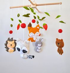 Baby mobile Woodland animals Forest Fox Rabbit Bear Raccoon Nursery decor Woodland baby shower gift Crib hanging mobile 100% wool felt  Welcome to «minimez»♥   This lovely baby crib felt mobile with woodland animal theme is perfect for a baby girl or boy nursery. Hand-sewn with attention to details from the 100% merino wool felt of highest quality. Each plush element is filled with hypo-allergenic polyester stuffing. All mobiles ship nicely packed and ready to be gifted .  Please see my…