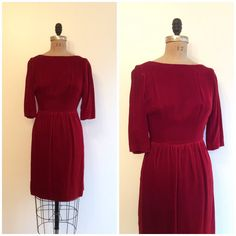 1950s 60s Velvet Dress 50s 60s Red Party Dress by CreatedAndCollected on Etsy https://www.etsy.com/listing/261935487/1950s-60s-velvet-dress-50s-60s-red-party