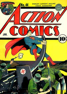 Action Comics awesome World War II cover! Superman busting up Nazis Dc Comic Books, Vintage Comic Books, Comic Book Covers, Vintage Comics, Comic Art, Old Superman, Superman Comic, Batman, Superman Stuff