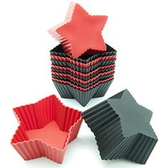 Freshware CB303RB 12Pack Silicone Mini Star Reusable Cupcake and Muffin Baking Cup Black and Red Colors * Be sure to check out this awesome product.Note:It is affiliate link to Amazon.