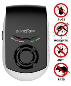 BugzOff® Ultrasonic Electric Pest Control Repeller [FREE Nightlight] Wall Plug-in- Best Indoor ElectroMagnetic for Insects, Mosquitos, Cockroach, Rodents, Fly, Roaches, Ants, Spiders, Fleas Mice - Roach Killer, Mouse Repellent [Black] #Garden #Gardening #Patio #Lawn