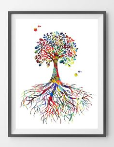 Tree Rooted Watercolor Print