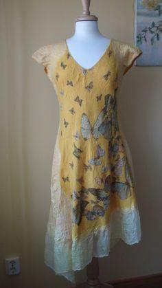 Nuno Filz asymmetrischen Kleid Größe L Butterfly von HandyMaria, $190.00