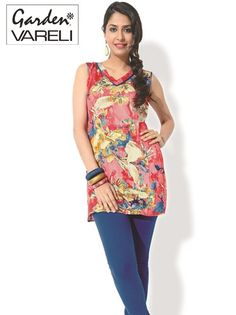 Buy Peachy Florals Peach Pink Cotton Kurti  from Gardenvareli at Rs.800.25/- #kurtis #floral
