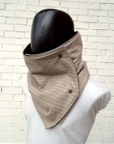 Men scarf. Extra Wide, capuccino striped wool with metalic snaps. Trendy, modern, chunky and cozy.