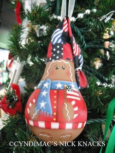 Ornament  Patriotic Gingie Lightbulb by CyndiMacsNickKnacks, $17.95
