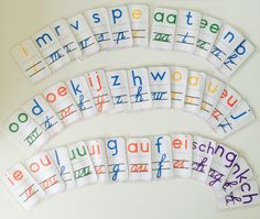 Wat een uitkomst, de letterlijn letters van juf Inger! De letters van mijn letterlijn waren echt wel aan vervanging toe, maar waar haal je dan nieuwe letters v Pre Writing, School Hacks, Learning Activities, Spelling, Montessori, Doodles, Education, Jasper, Blog
