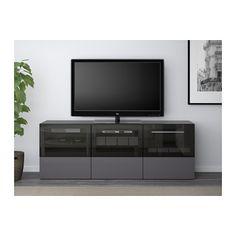 BESTÅ TV bench with doors and drawers - black-brown/Selsviken high-gloss/gray clear glass, drawer runner, push-open - IKEA