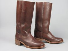 FRYE Made in USA Vintage Classic Tall Brown Leather Campus Boots Men's 9.5 D #Frye #CowboyWestern