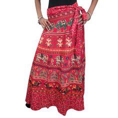 Mogulinterior Sexy Wrap Skirt Red Ethnic Print Long Cotton Sarong Wrap Around skirt Dress