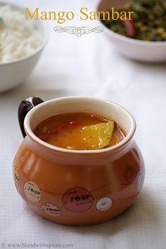 Mango Sambar #Recipe - An easy and flavorful South Indian gravy made with mango... http://www.blendwithspices.com/2013/06/mango-sambar-recipe.html [vegan]