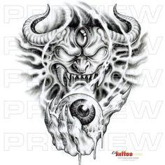 demon lord holding eyeball tattoo design tattoo design by tattoovox ...