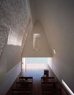 Seashore Chapel in Qinhuangdao Vector Architects imagined the Seashore Chapel as an old boat drifting on the ocean long time ago. The ocean receded through time and left an empty structure behind, which is still lying on the beach. The space is thus. Sacred Architecture, Church Architecture, Religious Architecture, Interior Architecture, Interior And Exterior, Church Interior, Commercial Architecture, Architect Career, Architect Logo