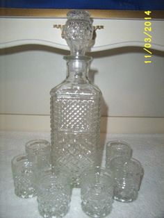 ✔ Anchor Hocking Wexford Decanter and 6 Shot Glasses | eBay