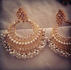 Love these Indian Wedding Jewelry, Pakistani Jewelry, Marriage Jewellery, India Jewelry, Pearl Jewelry, Jewelery, Fashion Earrings, Fashion Jewelry, Diamond Chandelier Earrings