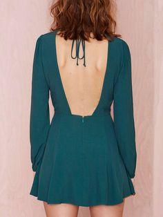 Puff Sleeve Open Back A-Line Dress 13.33