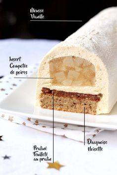 Yule log with vanilla, pear and hazelnut - Recipe - Delicacies - Dessert Recipes Pastry Recipes, Cake Recipes, Snack Recipes, Dessert Recipes, Fruit Dessert, Cooking Recipes, Hazelnut Recipes, Hazelnut Cake, Yule Log