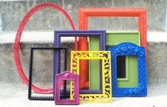 Colorful Picture Frame Set Ornate Skittles by melissap6908 on Etsy, $70.00