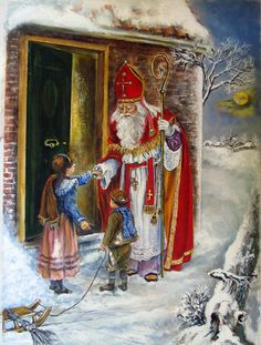 Illustrations et images St Nicolas Vintage Christmas Cards, Retro Christmas, Christmas Art, Vintage Cards, Illustrations, Illustration Art, German Christmas Traditions, Santa Pictures, Primitive Christmas