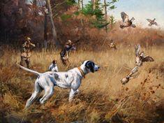 Wildlife Paintings, Dog Paintings, Wildlife Art, Hunting Painting, Hunting Art, Quail Hunting, Hunting Dogs, Hunting Birds, Hunting Drawings