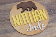 Decorate your nursery with this stylish, modern wooden name sign! Everything is hand crafted with a whole lot of love!  Each piece will be cut, sanded, painted and stained by hand. The stain may vary due to the grains and knots from the wood. That is what makes your sign so unique! Personalized Wooden Signs, Wooden Name Signs, Wooden Names, Wood Signs, Nursery Signs, Wood Letters, Handmade Wooden, Make It Yourself