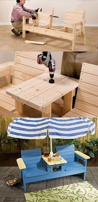 DIY adirondack chair - double seat with center table.: - - DIY adirondack chair - double seat with center table. Diy Projects Plans, Woodworking Projects Diy, Woodworking Bench, Diy Wood Projects, Home Projects, Project Ideas, Popular Woodworking, Woodworking Skills, Woodworking Shop