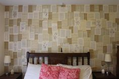 Use ruined books or old newspaper to cover your walls in words. | 29 Wall Decoration Ideas That Only Look Expensive