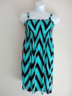 Womens Stretchy Chevron Print Dress - Size M 7 8 9- Smocked Blue Black  Also check out www.stores.ebay.com/jenscreationstx