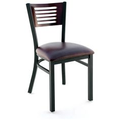Interchangeable Back Metal Chair 5 Slats in Back - Black Finish with a Dark…