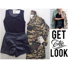 GET THE LOOK Leather High Waisted ShortsMesh Sleeveless Body Suit Oversized A