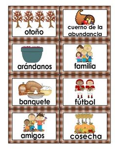 Thanksgiving: Vocabulary cards in Spanish