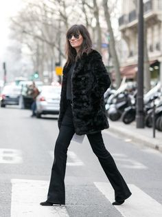 the one and only #EmmanuelleAlt getting back to all black in Paris.