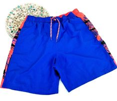 "Nike Mens Swim Trunks Size XXL Atlas Splice 9"" Volley Shorts Neon Blue Orange #Nike #Trunks"