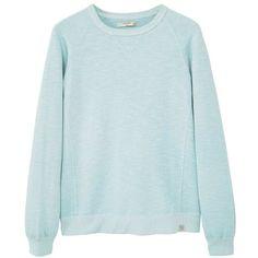 Plush Cotton Sweatshirt (1.445 RUB) ❤ liked on Polyvore featuring tops, hoodies, sweatshirts, blue top, long sleeve cotton tops, round top, long sleeve sweatshirt and cotton sweatshirts