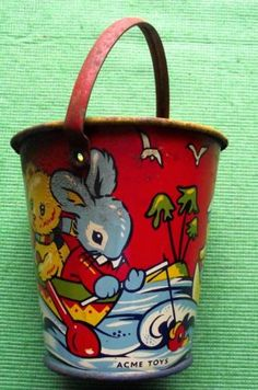 cute vintage pail! I had one of these, makes me feel old that it's pinned as vintage. tee hee.
