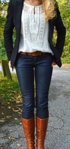 navy blazer + cream top + brown belt + jeans + brown boots