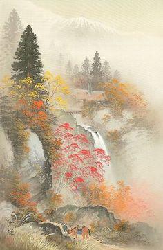 Japanese Cherry Blossom Landscape Painting on Hasshe Images Japanese Art Modern, Japanese Landscape, Japanese Artists, Modern Art, Japanese Painting, Chinese Painting, Chinese Art, Art Occidental, Gravure