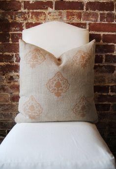 Medallion Hand Printed Linen Pillow